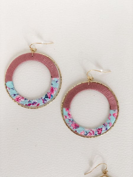 Pink and Floral Circle Earrings
