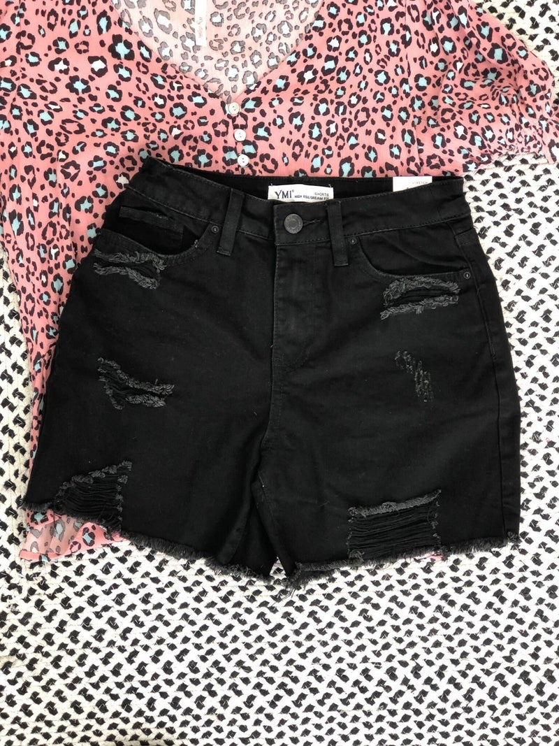 YMI Dream Fit High Rise Destroyed Shorts