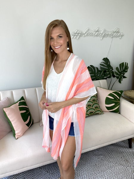 Day Party Coral Kimono & Cover Up