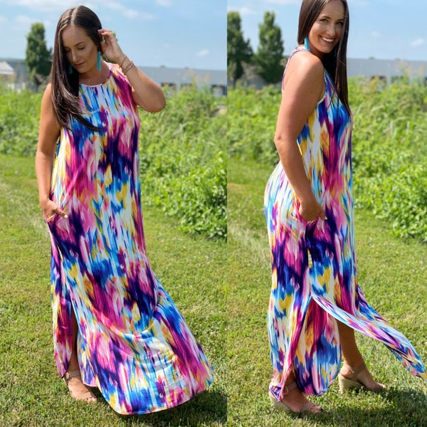 Malibu Watercolor Maxi Dress