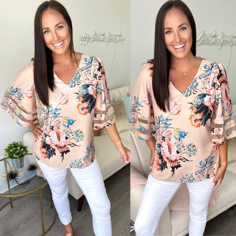 Neon + Nude Floral Bell Sleeve Blouse
