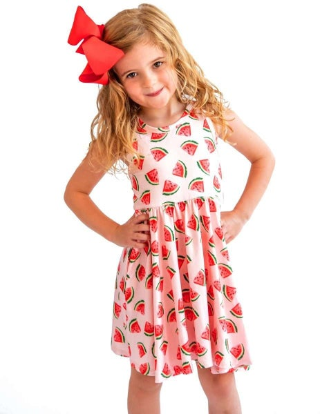Watermelon Sleeveless Swing Dress