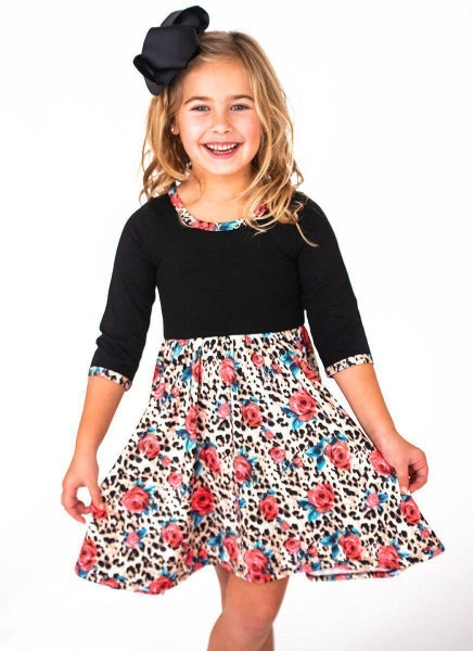 Leopard and Roses Twirl Dress