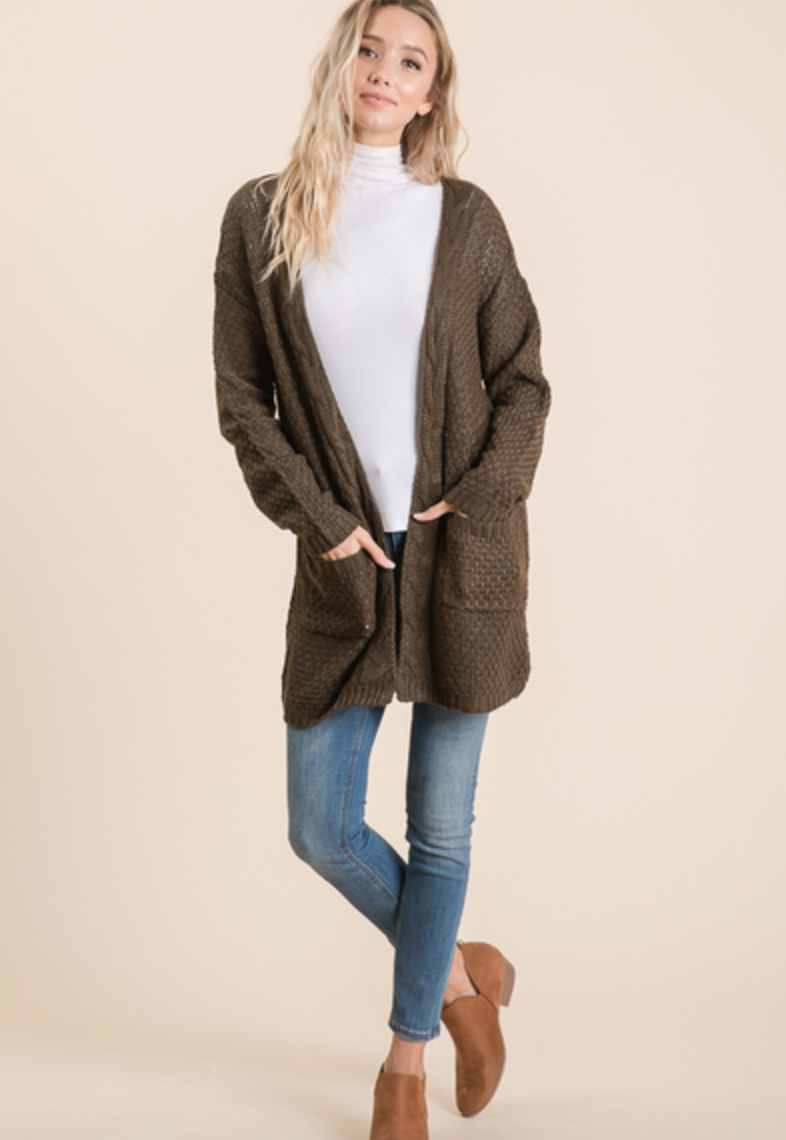 Cable Knit Cardi- Olive