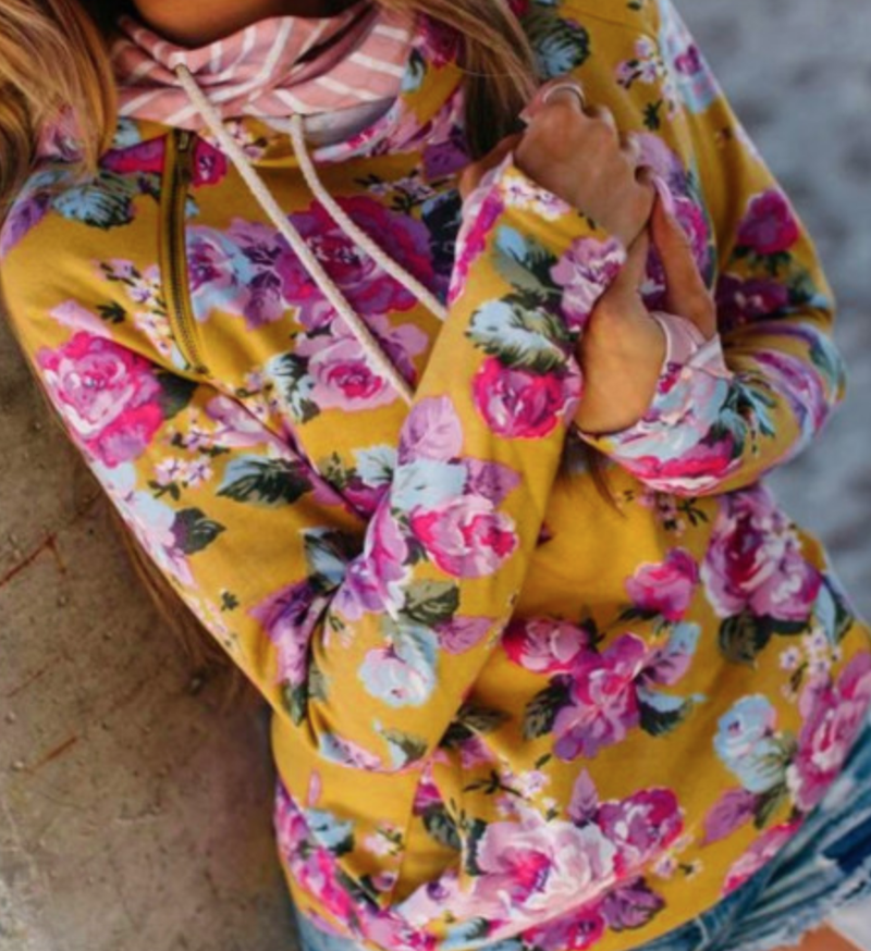 Yellow Floral Hoodie