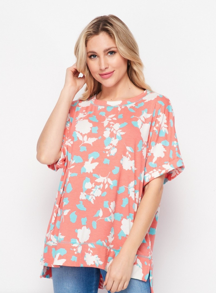 Over Sized Floral Top- Coral
