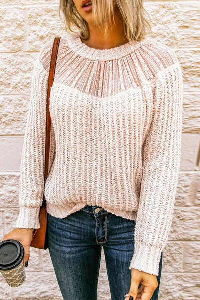 Lace Splicing Knitted Sweater