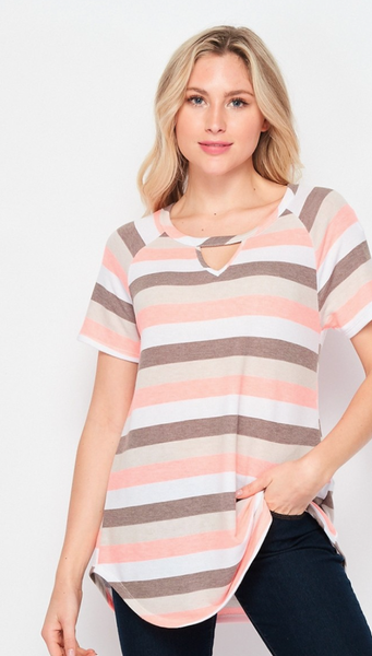 Stripe Tee with Keyhole- Pink & Taupe