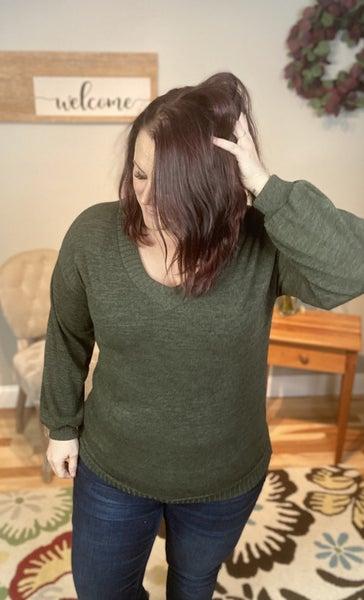 V Neck Sweater- Olive
