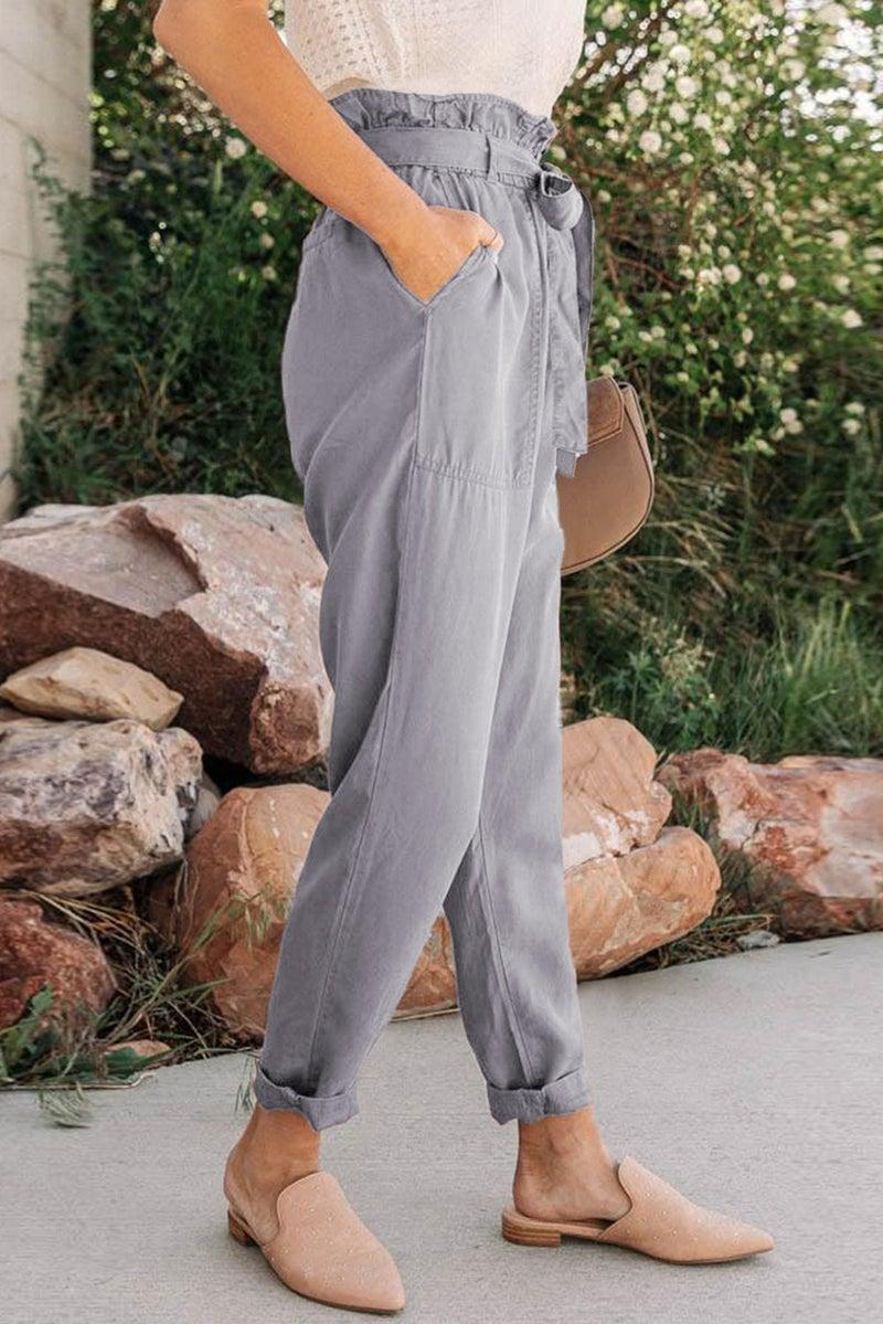 Gray Paper Bag Pants