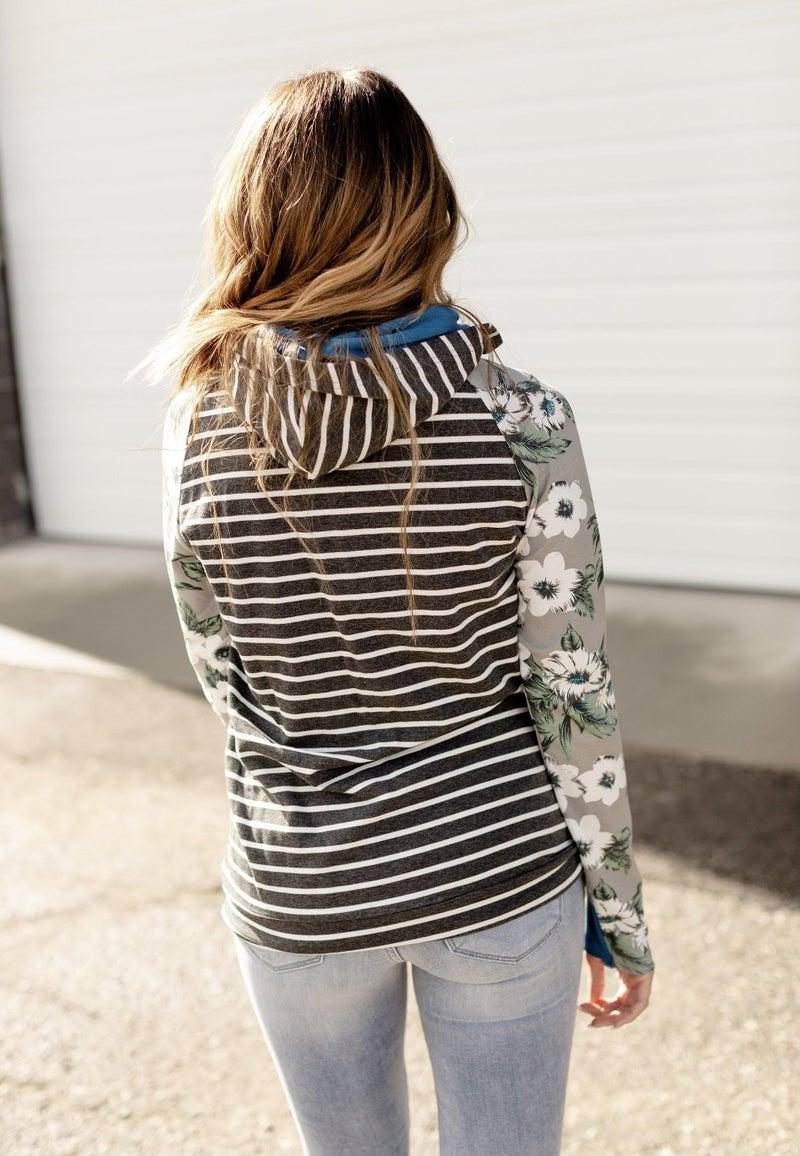 Gray Floral Stripe Hoodie