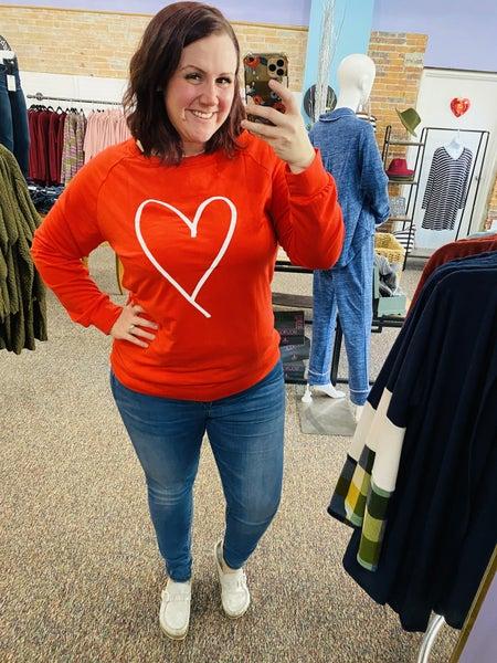 Red Valentine's Heart Print Sweatshirt
