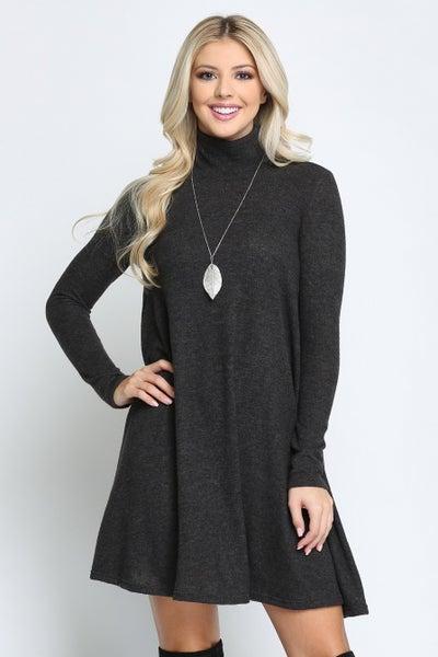 Turtleneck Dress- Charcoal *Final Sale*