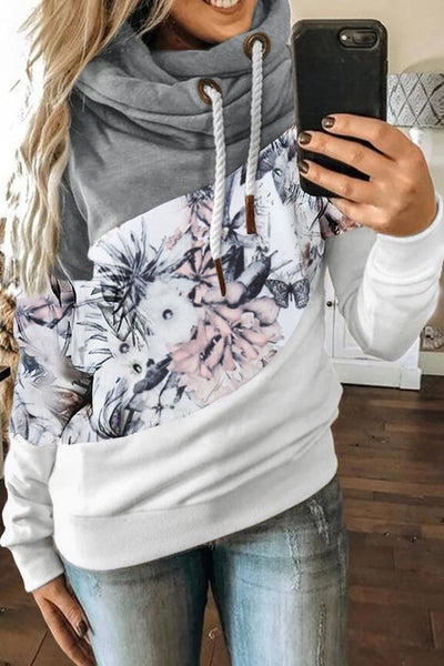 Gray Floral Color Block Hoodie