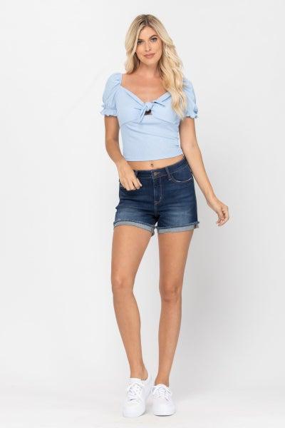 Mid-Rise Cuffed Hem Shorts - Dark Blue