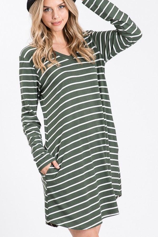 Long Sleeve Dress- Olive Stripe