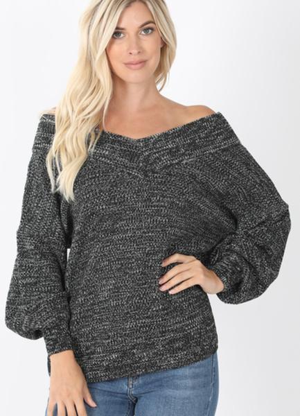 Balloon Sleeve  V-Neck Sweater