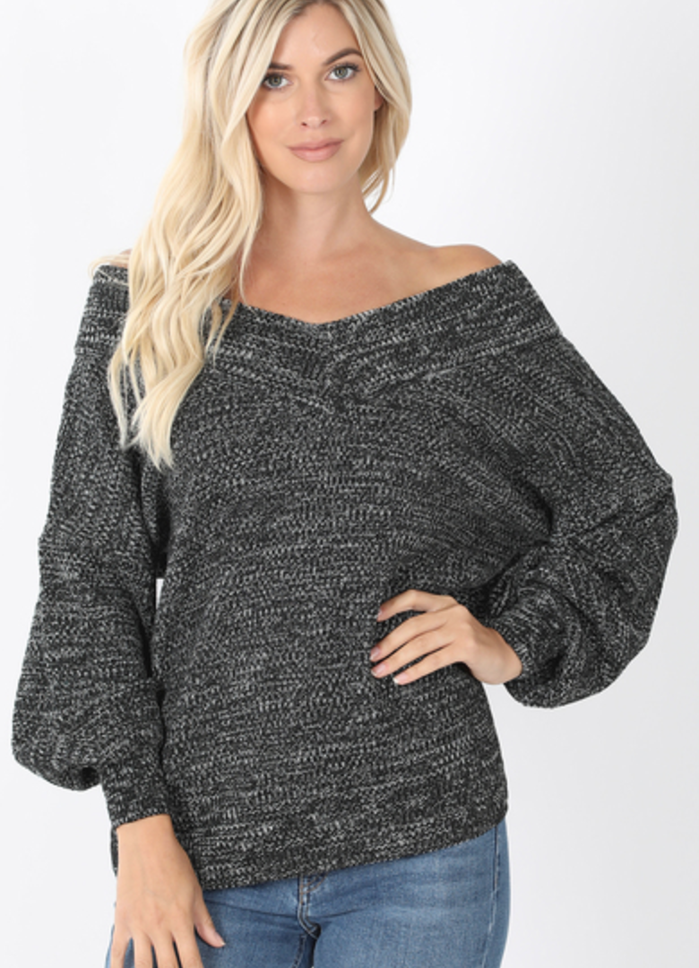 Balloon Sleeve  V-Neck Sweater