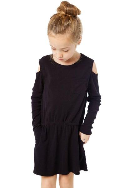 Girl's Long Sleeve Cold Shoulder Dress