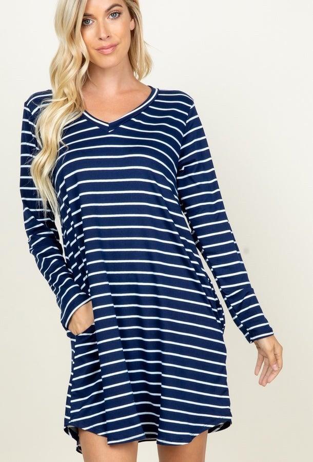 Long Sleeve Dress- Navy Stripe