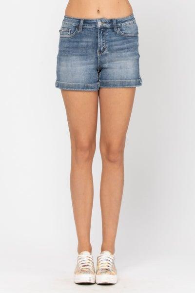 Mid Rise Hem Shorts - Medium Wash
