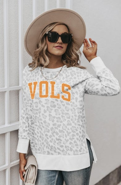 TN Vols Animal Print Side Slit French Terry Pullover