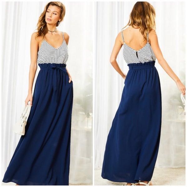 Navy Striped Pocket Maxi Dress