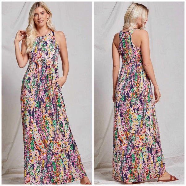 Navy Floral Pocket Maxi Dress