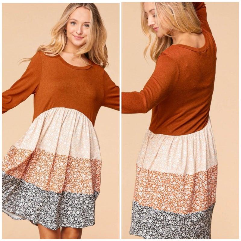 Rust & Taupe Color Block Floral Print Dress