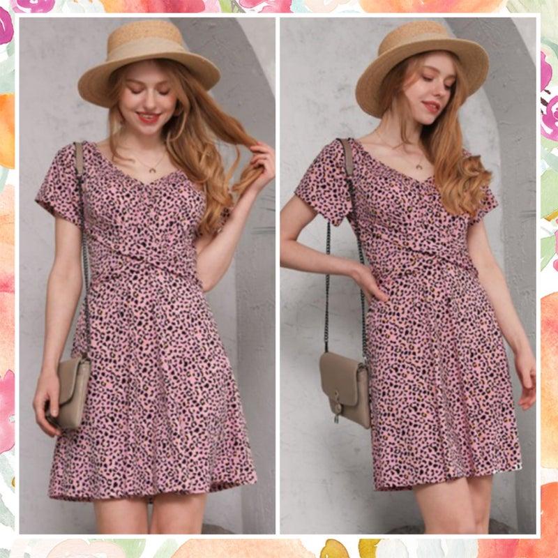 FINALSALE Pink Animal Print Dress
