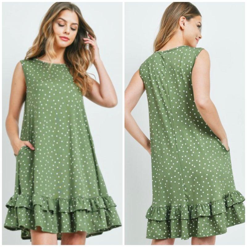 Green Polka Dot Ruffle Pocket Dress