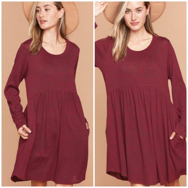 Wine Two Toned Pocket Dress