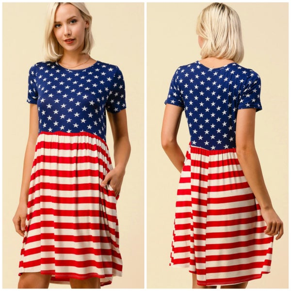 Stars & Stripes Pocket Dress