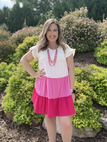 Cream & Pink Tiered Dress