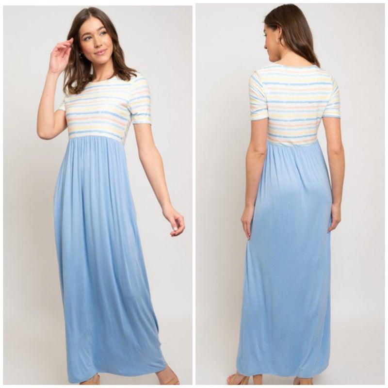 Blue Striped Pocket Maxi Dress