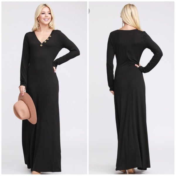 FINAL SALE Black Button Maxi Dress