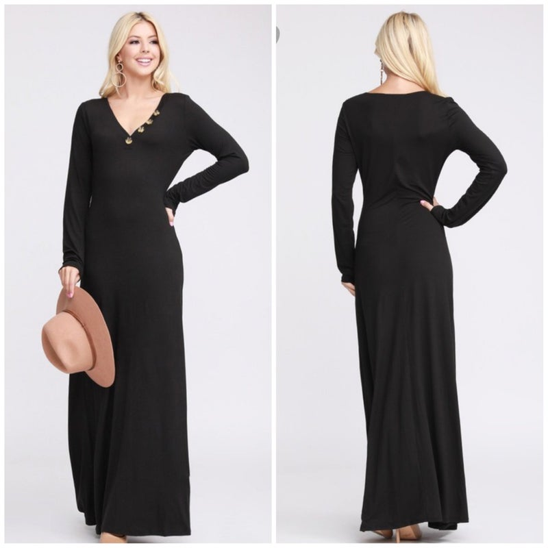 FINAL SALE Black Button Maxi Dress