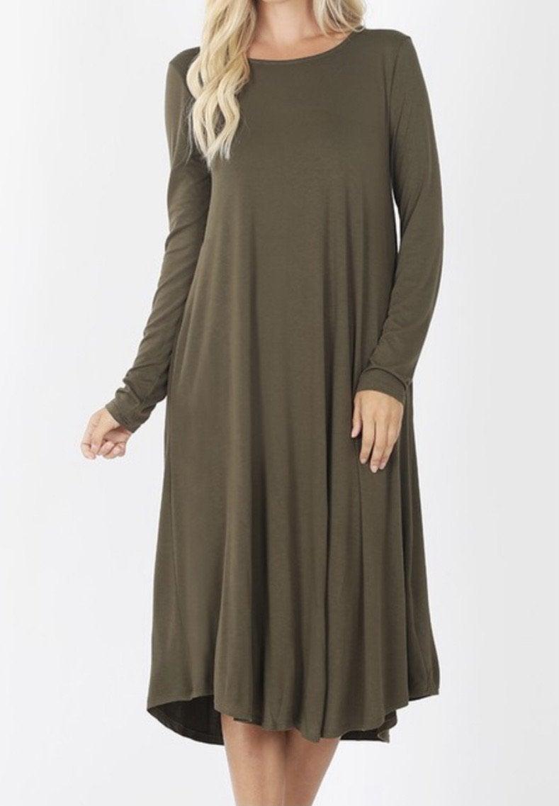 Adorable Midi Pocket Dress