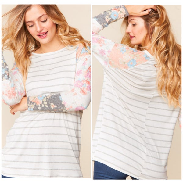 Gray Striped Floral Print Top