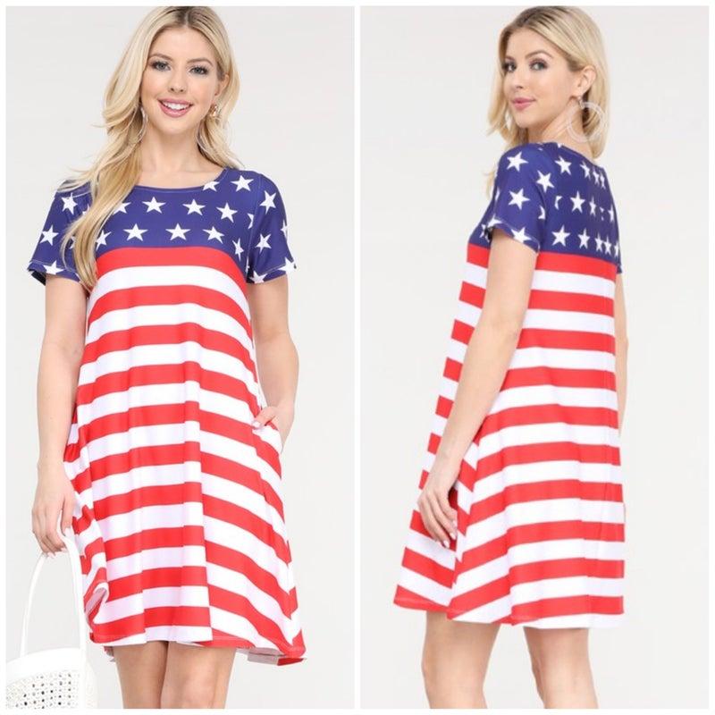 FINALSALE Red, White, & Blue Stars & Stripes Pocket Dress