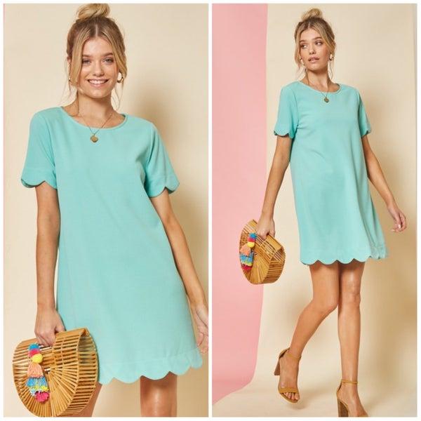 FINAL SALE Mint Scalloped Dress