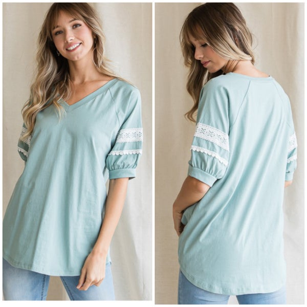 Blue Lace Trim Top