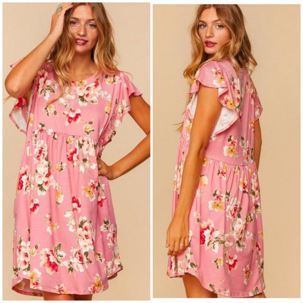 Mauve Floral Baby Doll Ruffle Sleeve Pocket Dress