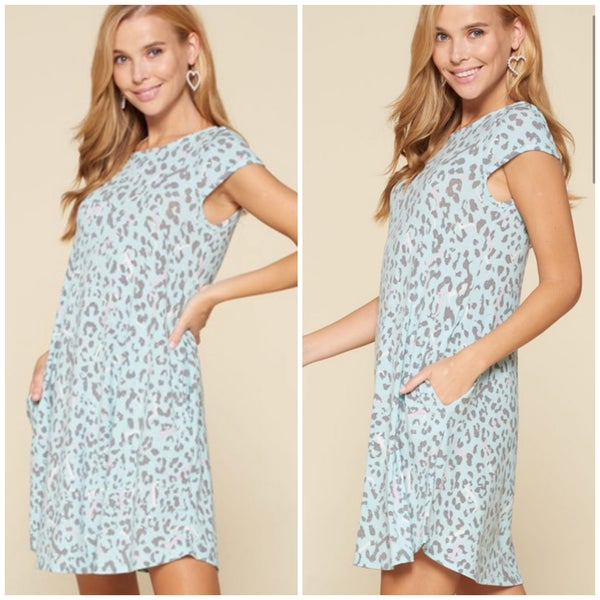 Mint Animal Print Pocket Dress