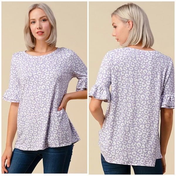 Lavender Animal Print Ruffle Sleeve Top