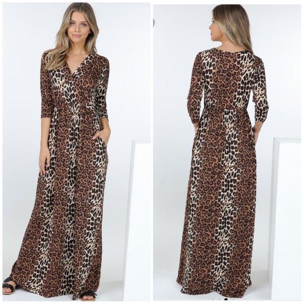 Brown Animal Print Maxi Dress