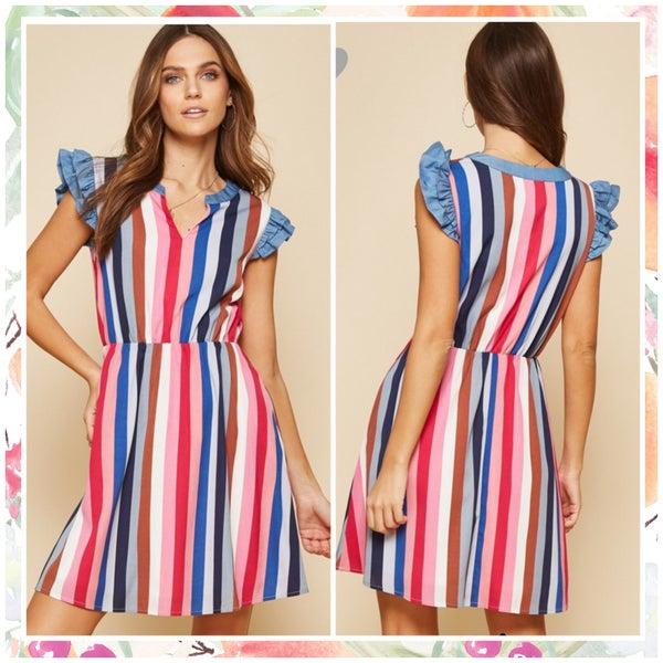 FINAL SALE Multi Striped Ruffle Sleeve Dress
