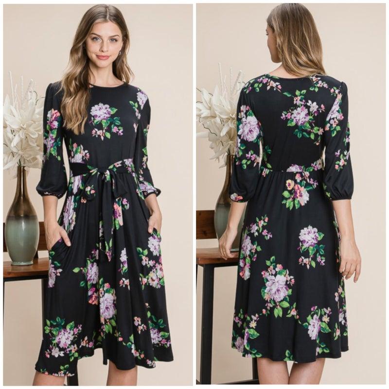 Black Floral Tie Pocket Dress