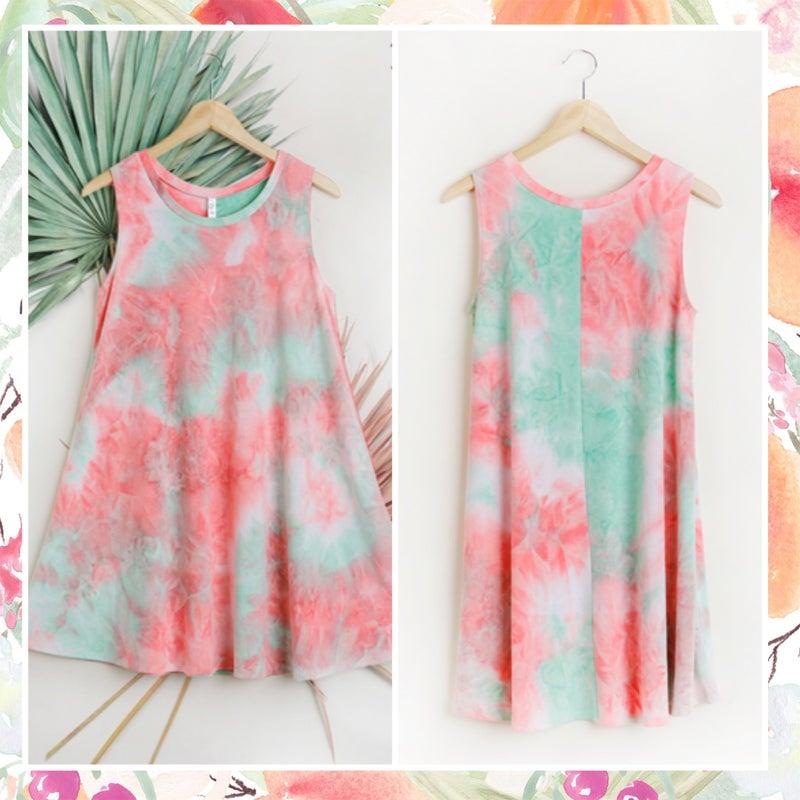 FINAL SALE Umgee Mint Multi Tie Dye Tunic Dress