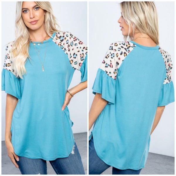 Blue Animal Print Ruffle Sleeve Top